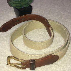 COACH UNISEX linen & leather belt natural 3880